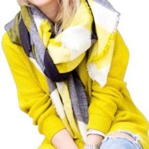 Zara Gray and Yellow Blanket Scarf